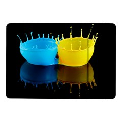 Bicolor Paintink Drop Splash Reflection Blue Yellow Black Samsung Galaxy Tab Pro 10 1  Flip Case by AnjaniArt
