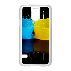 Bicolor Paintink Drop Splash Reflection Blue Yellow Black Samsung Galaxy S5 Case (white) by AnjaniArt