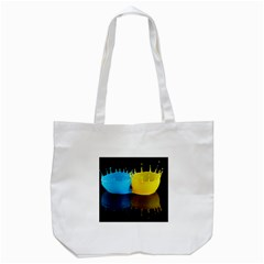 Bicolor Paintink Drop Splash Reflection Blue Yellow Black Tote Bag (white) by AnjaniArt