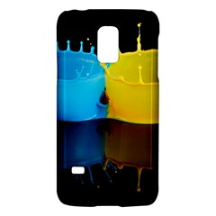 Bicolor Paintink Drop Splash Reflection Blue Yellow Black Galaxy S5 Mini by AnjaniArt