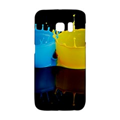 Bicolor Paintink Drop Splash Reflection Blue Yellow Black Galaxy S6 Edge by AnjaniArt