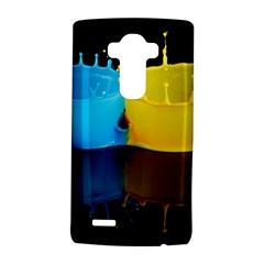 Bicolor Paintink Drop Splash Reflection Blue Yellow Black LG G4 Hardshell Case by AnjaniArt