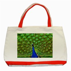 Bird Peacock Classic Tote Bag (red)