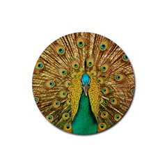 Bird Peacock Feathers Rubber Round Coaster (4 Pack)