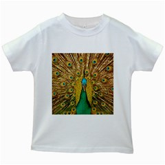 Bird Peacock Feathers Kids White T Shirts