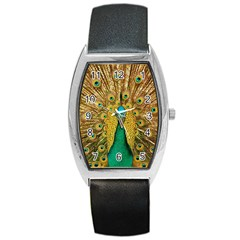 Bird Peacock Feathers Barrel Style Metal Watch