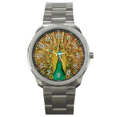 Bird Peacock Feathers Sport Metal Watch