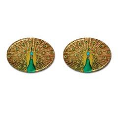 Bird Peacock Feathers Cufflinks (oval)