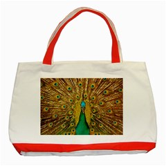 Bird Peacock Feathers Classic Tote Bag (red)
