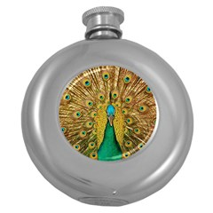 Bird Peacock Feathers Round Hip Flask (5 Oz)