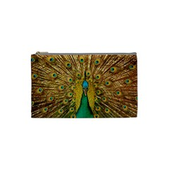 Bird Peacock Feathers Cosmetic Bag (small)  by AnjaniArt