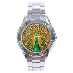 Bird Peacock Feathers Stainless Steel Analogue Watch