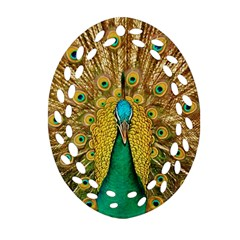 Bird Peacock Feathers Oval Filigree Ornament (2 Side)