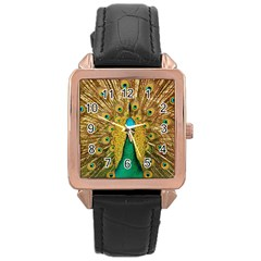 Bird Peacock Feathers Rose Gold Leather Watch
