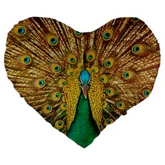 Bird Peacock Feathers Large 19  Premium Flano Heart Shape Cushions by AnjaniArt