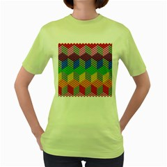 Block Pattern Kandi Pattern Women s Green T Shirt