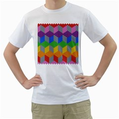 Block Pattern Kandi Pattern Men s T Shirt (white) (two Sided)
