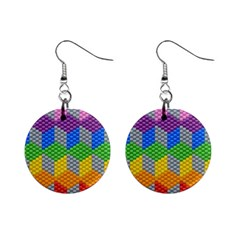 Block Pattern Kandi Pattern Mini Button Earrings