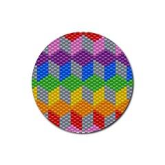 Block Pattern Kandi Pattern Rubber Coaster (round)