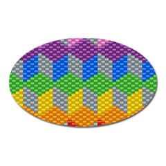 Block Pattern Kandi Pattern Oval Magnet by AnjaniArt
