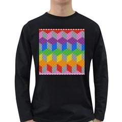 Block Pattern Kandi Pattern Long Sleeve Dark T Shirts