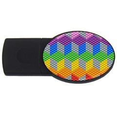 Block Pattern Kandi Pattern Usb Flash Drive Oval (4 Gb)