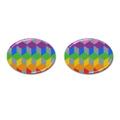 Block Pattern Kandi Pattern Cufflinks (oval)