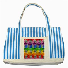 Block Pattern Kandi Pattern Striped Blue Tote Bag