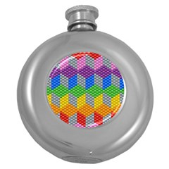 Block Pattern Kandi Pattern Round Hip Flask (5 Oz)