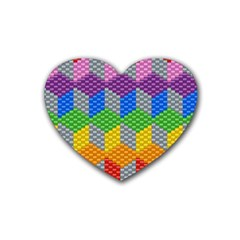 Block Pattern Kandi Pattern Rubber Coaster (heart)