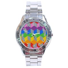 Block Pattern Kandi Pattern Stainless Steel Analogue Watch