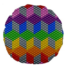Block Pattern Kandi Pattern Large 18  Premium Round Cushions by AnjaniArt