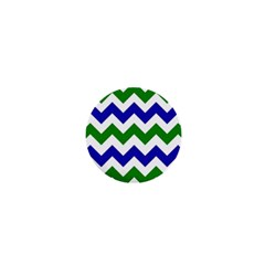 Blue And Green Chevron Pattern 1  Mini Buttons