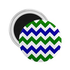 Blue And Green Chevron Pattern 2 25  Magnets