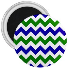 Blue And Green Chevron Pattern 3  Magnets