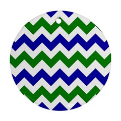 Blue And Green Chevron Pattern Ornament (round)