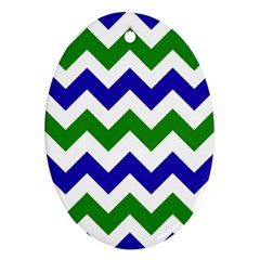 Blue And Green Chevron Pattern Ornament (oval)