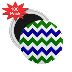 Blue And Green Chevron Pattern 2 25  Magnets (100 Pack)  by AnjaniArt