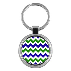 Blue And Green Chevron Pattern Key Chains (round)  by AnjaniArt