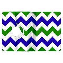 Blue And Green Chevron Pattern Kindle Fire Hdx Flip 360 Case by AnjaniArt