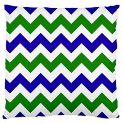 Blue And Green Chevron Pattern Large Flano Cushion Case (one Side) by AnjaniArt
