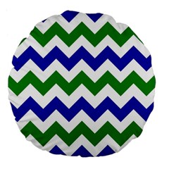Blue And Green Chevron Pattern Large 18  Premium Flano Round Cushions by AnjaniArt