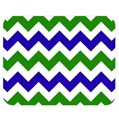Blue And Green Chevron Pattern Double Sided Flano Blanket (medium)  by AnjaniArt