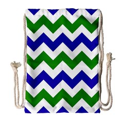 Blue And Green Chevron Pattern Drawstring Bag (large)