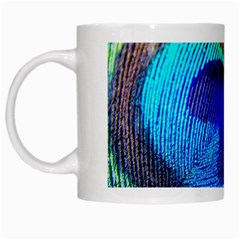 Blue Peacock White Mugs