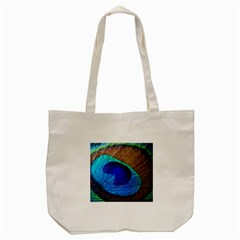 Blue Peacock Tote Bag (cream)