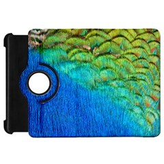 Blue Peacock Feathers Kindle Fire HD Flip 360 Case by AnjaniArt