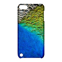 Blue Peacock Feathers Apple Ipod Touch 5 Hardshell Case With Stand by AnjaniArt