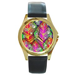 Bubbles Colorful Leaves Round Gold Metal Watch by AnjaniArt