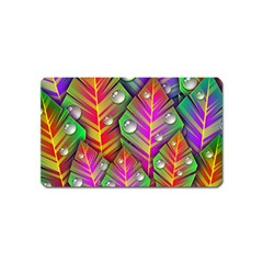 Bubbles Colorful Leaves Magnet (name Card)